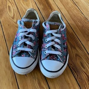 Converse Girls Blue Floral Sneakers Youth Sz 12